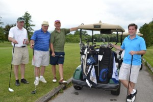 (From left): Golfers Jim Griffin, Larry Howard, Pat Lamb  and Chris Nigliazzo take a break for a quick photo.